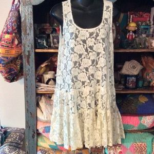 FREE PEOPLE FP ONE LACE RUFFLE DRESS MADE IN INDIA